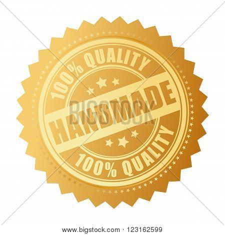 Handmade quality product icon isolated on white background