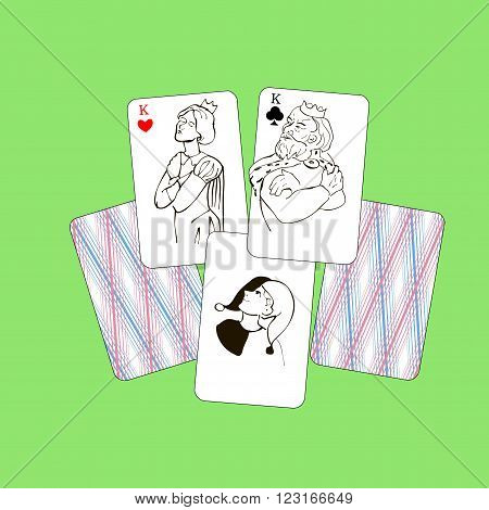 Hearts and Spades kings quarrel, and the joker laughs