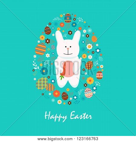Stock vector illustration Happy Easter bunny with carrot, colored Easter eggs, spring decoration, leaves, flowers in flat style on blue background to printed materials, website, postcard, greeting