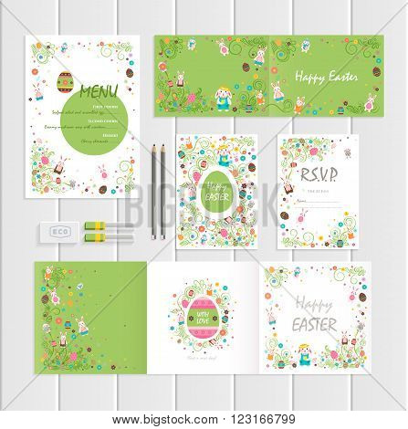 Stock vector illustration Happy Easter mockup with Easter bunny, colored Easter eggs, spring decoration, leave, flower on lime background to printed materials, postcard, greeting, festive menus, cards