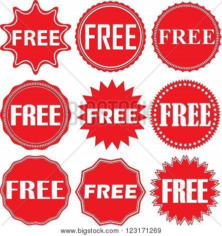 Free Signs Set, Free Sticker Set, Vector Illustration