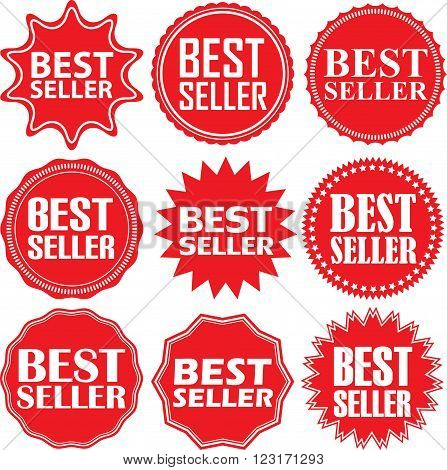 Best Seller Label Set, Best Seller Sticker Set, Vector Illustration