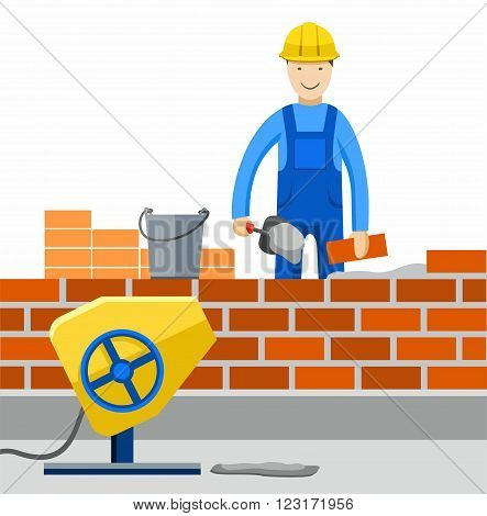 Worker works in construction, builds a building, lays brick. Colored, flat illustration, vector picture.