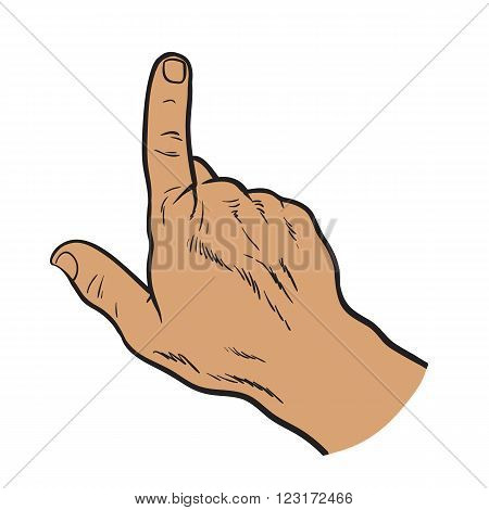Vector hands. Touch the hand. Hand touching the monitor. Finger touches. Painted by hand. Black and white illustration. Hand with a finger. Pointing finger. Touching anything. Finger touch monitor.