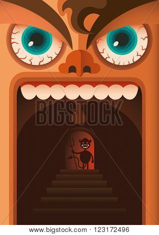 Comic illustration of angry guy. Vector illustration.