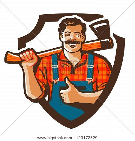 woodcutter with axe in hand isolated on white background. vector illustration