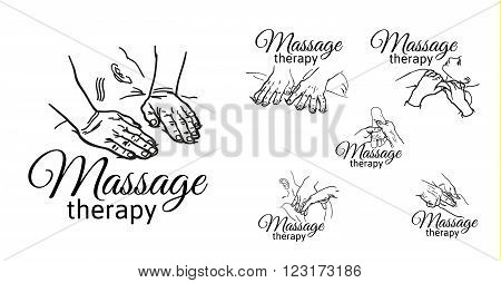 Hand massage, foot massage, back massage. Types of massage. Set with image of massage. Face massage. Massage therapy. Therapeutic manual massage. Relaxing therapy. Massage vector icons. Body massage