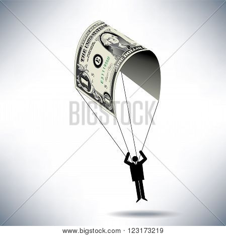 A man uses a dollar for a parachute with space for text