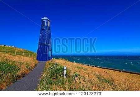 Samphire Hoe Tower along the Dover Cliffs coastline