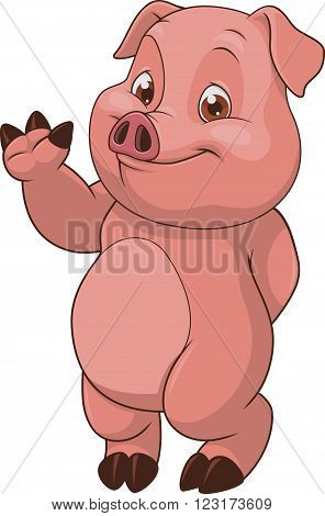 Vector illustration, funny baby pig, on a white background.