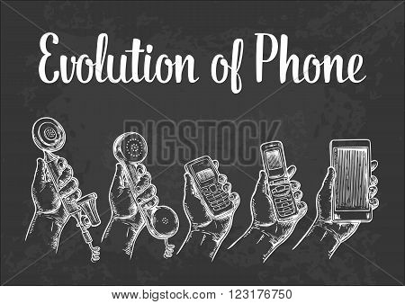 Evolution of communication devices from classic phone to modern mobile phone. Hand drawn design element. Vintage vector engraving illustration for info graphic poster web.