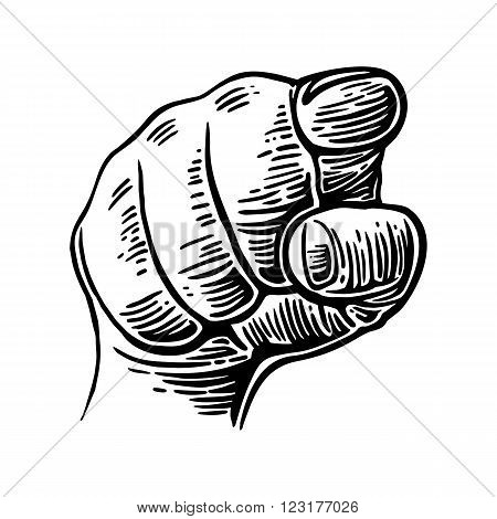 Hand pointing finger at viewer from front. Vintage poster on old paper texture background. Vector vintage engraved illustration. I want you.