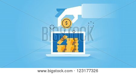Flat line design website banner of online earnings, pay per click, affiliate marketing, referrals. Modern vector illustration for web design, marketing and print material.