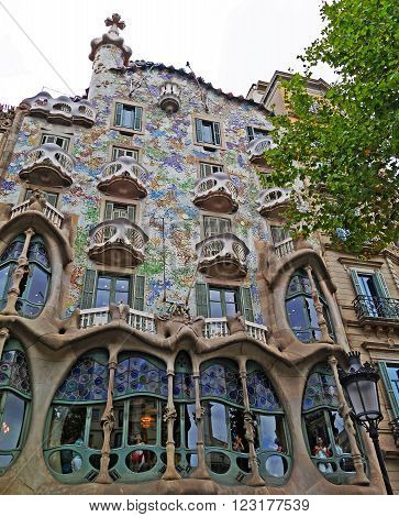BARCELONA, SPAIN - JULY 31, 2015: View of Casa Batllo facade (known as the house of bones) - one incredible and modernistic building in Barcelona, Spain
