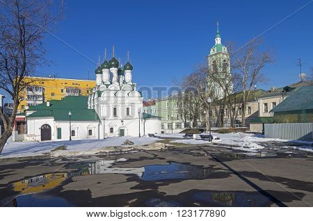 Old chirches in Zamoskvorechye Moscow Russia. Sunny winter day.