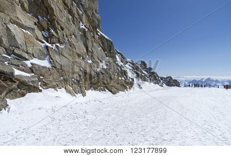 The top of the Hintertux glacier in the Austrian Alps. Height - 3250 meters above sea level.