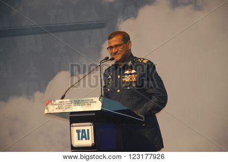 ANKARA/TURKEY-SEPTEMBER 2, 2014: Pakistan Air Force's Air Marshal Sohail Aman at the TAI during the ceremony of