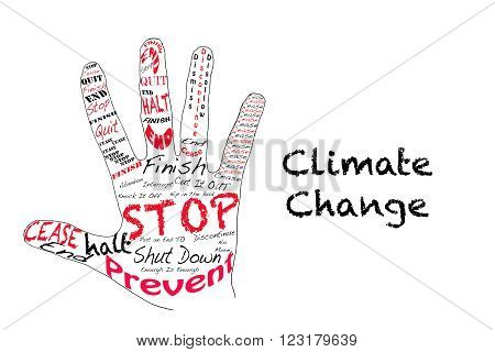 Hand outline with text for stop and Climate Change.