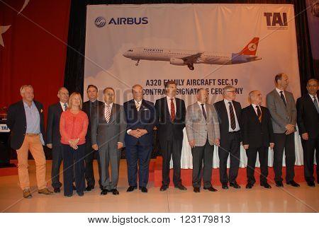 ANKARA/TURKEY-APRIL 29, 2015: High officials at the TAI hangar during the A320 family aircraft sec.19 contract signature ceremony. April 29, 2015-Ankara/Turkey