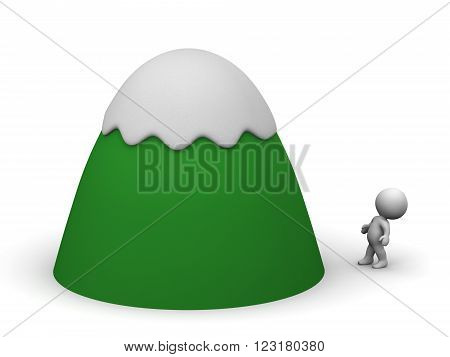 Small 3D character is looking up at a cartoonish mountain covered with snow. Isolated on white background.