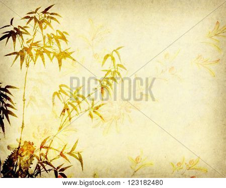 Traditional chinese painting Bamboo on Old antique vintage paper background
