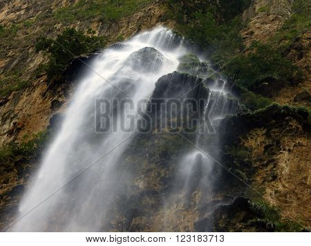 A close-up of the Christmas Tree waterfall inside the Sumidero Canyon in Chiapas Mexico.