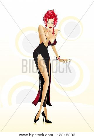 Vector illustration of a sexy partygirl
