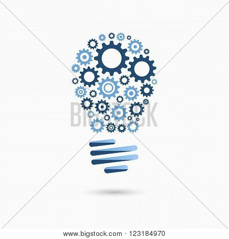 Light bulb idea icon with gears inside. Light bulb sign, light bulb symbol. Business idea concept.