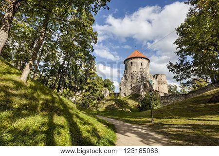 Ruins of medieval Cesis Castle, Latvia.