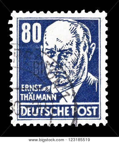 GERMANY - CIRCA 1948: Cancelled postage stamp printed by Germany, that shows Ernst Thälmann.