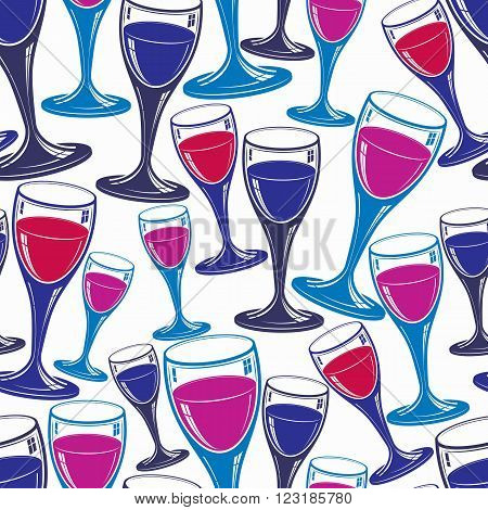 Sophisticated Wine Goblets Continuous Backdrop, Stylish Alcohol Theme Pattern. Classic Wineglasses,