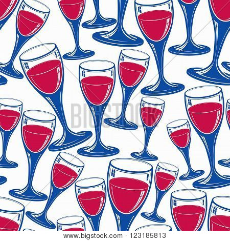 Sophisticated Wine Goblets Continuous Vector Backdrop, Stylish Alcohol Theme Pattern. Classic Winegl