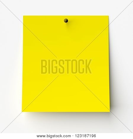 Yellow sticker label isolated on white background. 3d render