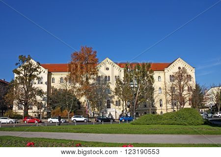 CROATIA ZAGREB 11 NOVEMBER 2015: Palace of Rectorate and the Faculty of Law University of Zagreb Croatia