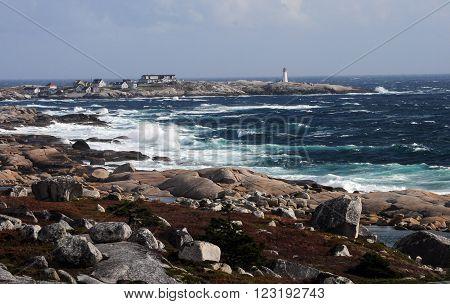 Peggys Cove Lightouse in Halifax Nova Scotia Canada