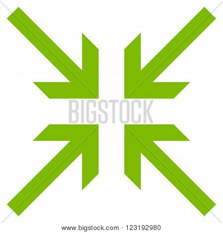 Collide Arrows vector icon. Style is flat icon symbol, eco green color, white background.