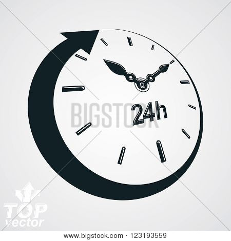 3D Vector 24 Hours Clock Black And White Illustration. Day-and-night Dimensional Stylized Symbol. Tw