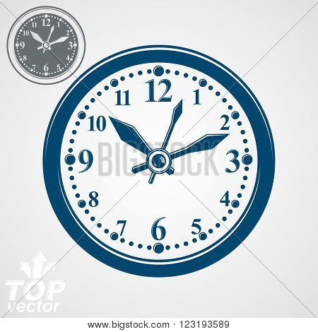 Simple Vector Wall Clock With Stylized Clockwise, Additional Version Included. Business Time Idea Cl