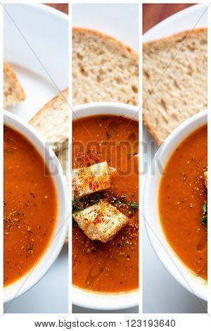 A bowl of fresh tomato soup in white ceramic bowl, garnished with herbs, croutons, seasoning and a drizzle of olive oil, and served with crusty wholemeal bread. Triptych collage.