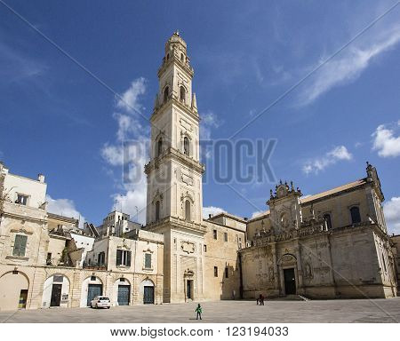 Lecce Italy - April 20 2015: Cathedral of the Assumption of the Virgin Mary in Lecce a historic city in Apulia Southern Italy.