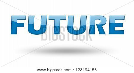 Word Future with blue letters and shadow. Illustration, isolated on white