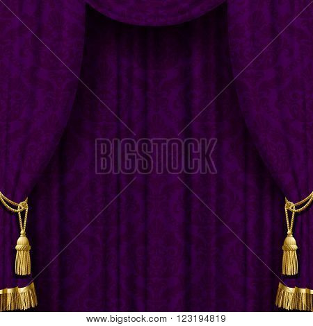 Dark violet curtain with gold tassels. Square retro theater background. Artistic poster