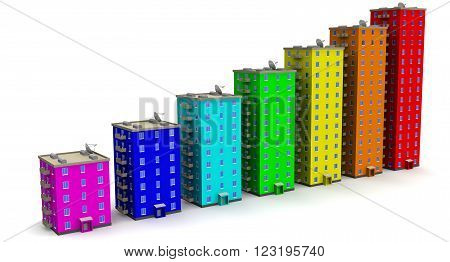 Multi-storey residential buildings lined up in row on a white surface. The three-dimensional illustration. Financial concept