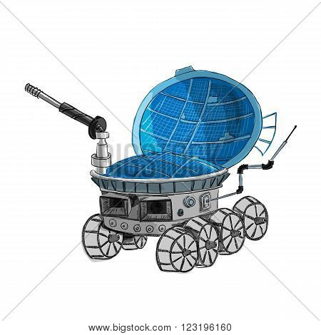 Rover isolated on white background logo is made in a fashionable cartoon style. Space series. The space exploration and adventure a symbol. Explore the world of the concept.