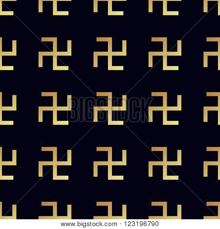 Swastika seamless pattern. Rotating cross an ancient religious symbol of the sun good luck prosperity. Swastika symbol in Hinduism Buddhism and Jainism