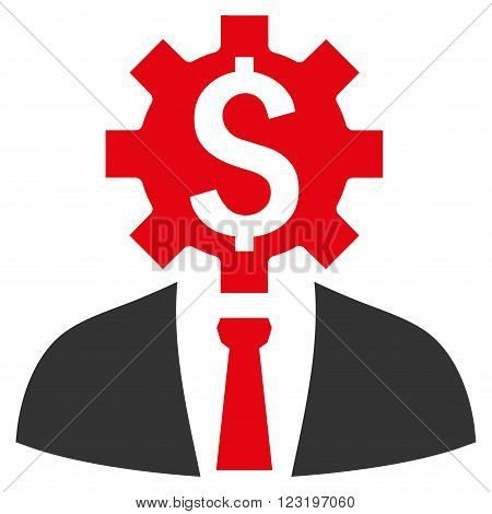 Office Worker vector icon. Style is flat symbol, red color, white background.