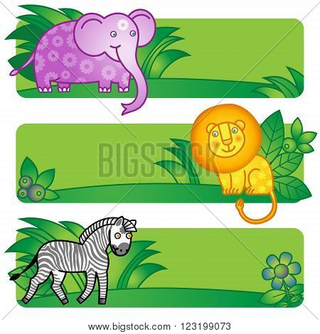 Bright Cards With Cute Animals From Jungle.