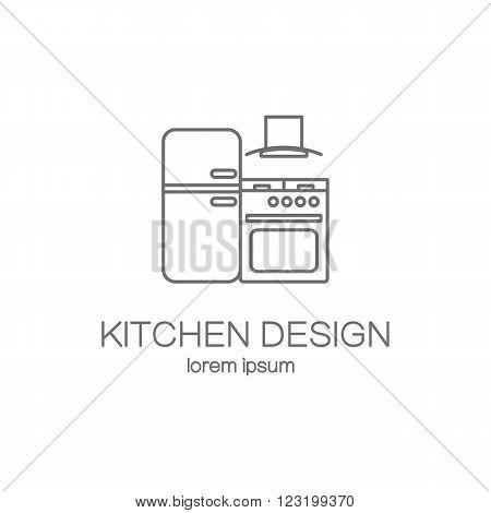 Kitchen design line icon web logotype design templates. Modern easy to edit logo template. Vector logo design series.