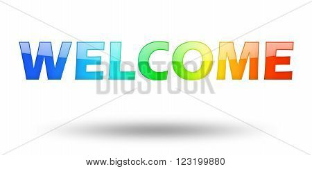 Text Welcome with colorful letters and shadow. Illustration, isolated on white
