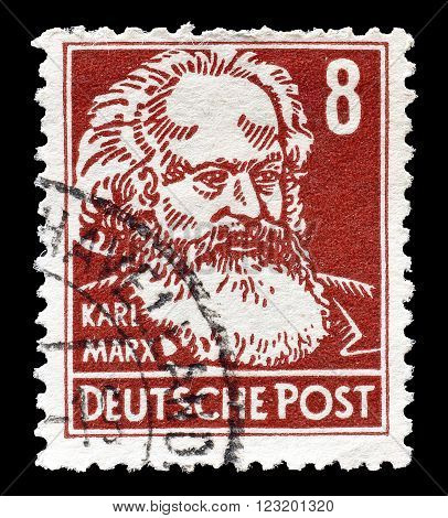 GERMANY - CIRCA 1948 : Cancelled postage stamp printed by Germany, that shows Karl Marx.